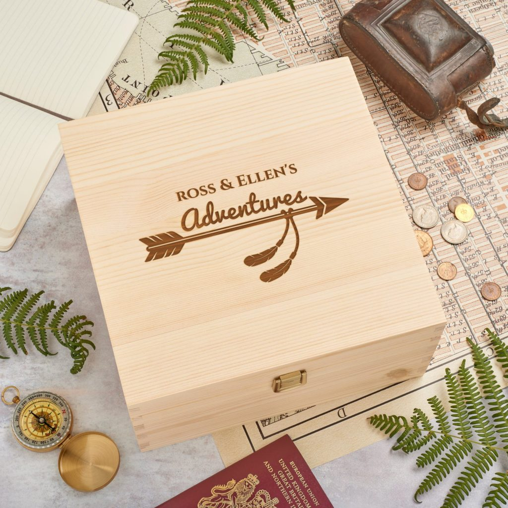 wooden travel keepsake box
