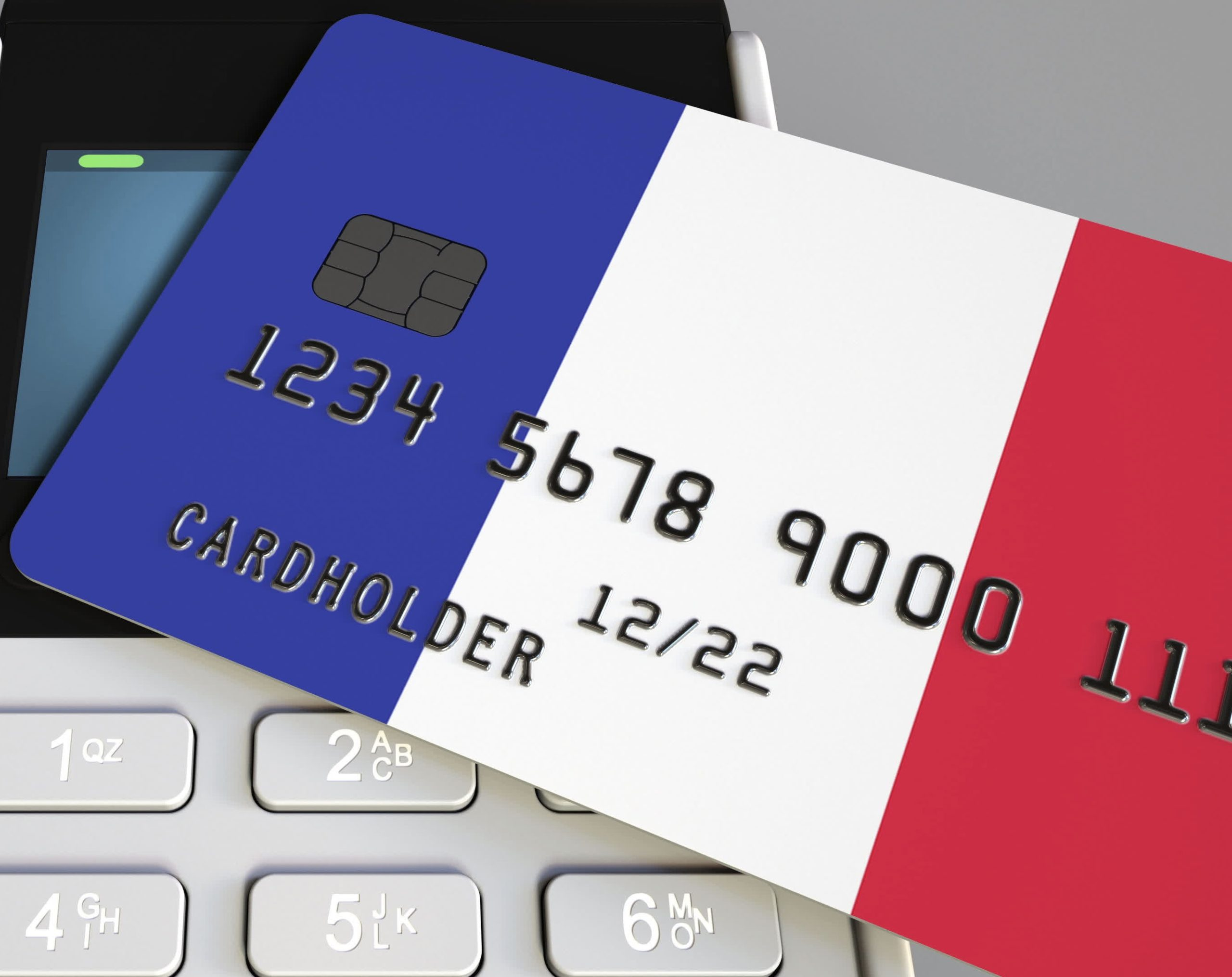 Opening a French bank account. Image shows Plastic bank card featuring french flag and POS terminal. National banking system conceptual 3D