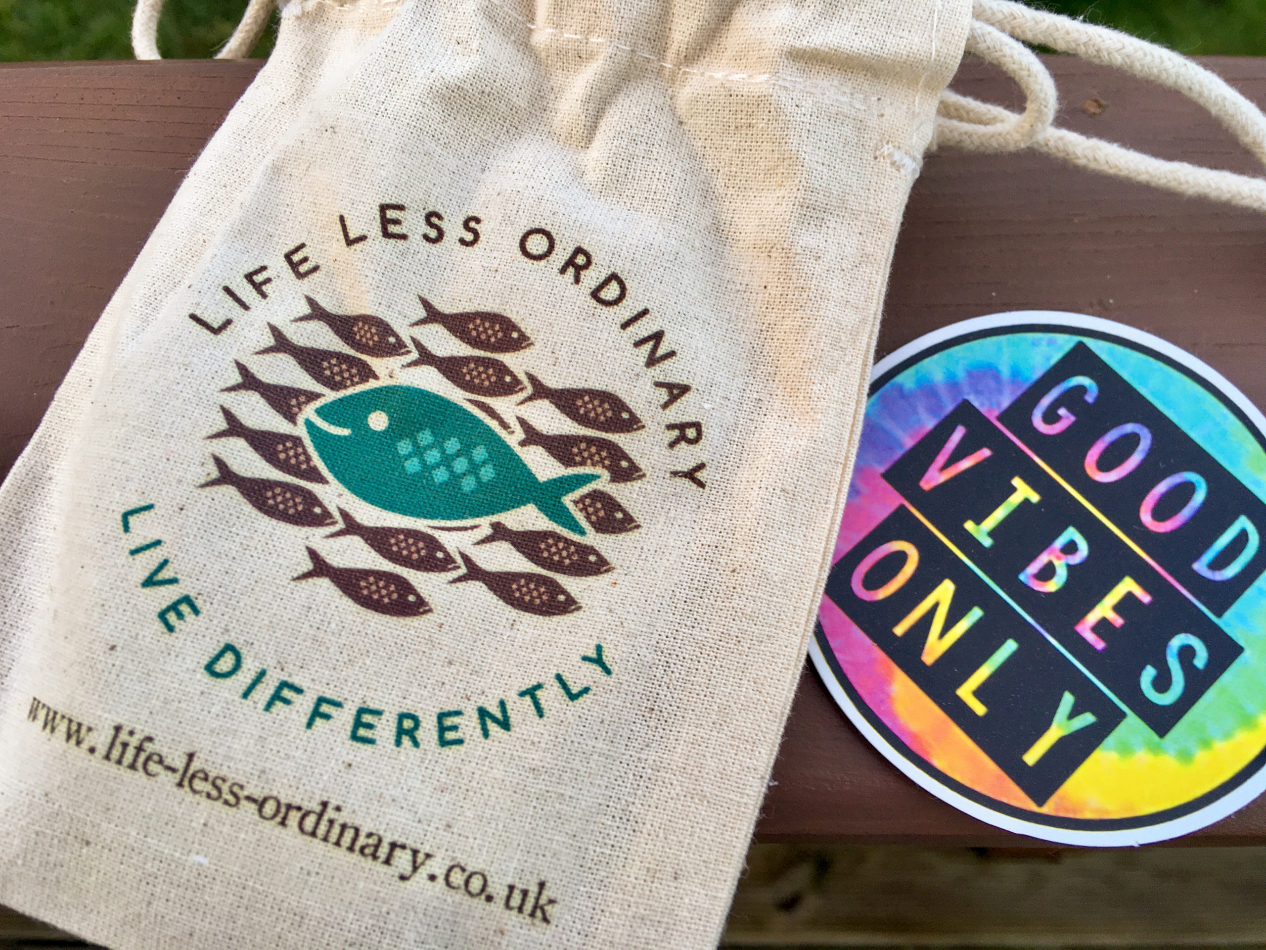 Life less ordinary canvas bag that the handwriting bracelets arrived in