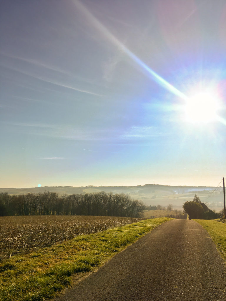 A road going downhill, surrounded by fields and the sun is high in the sky