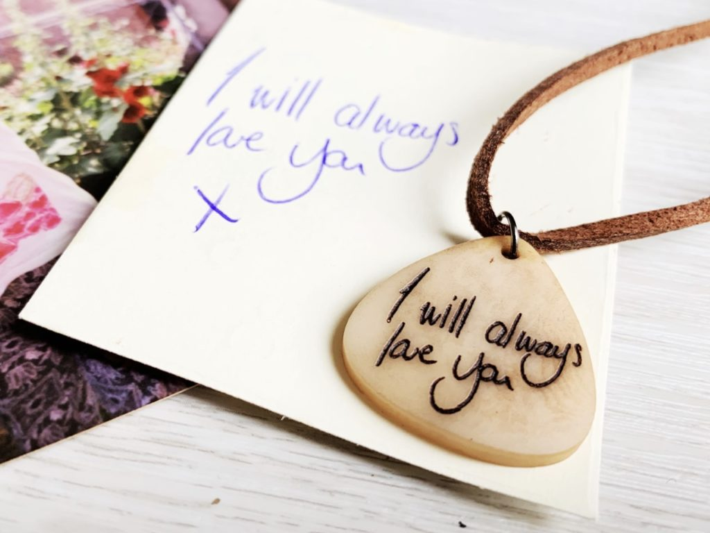 handwriting vegan necklace
