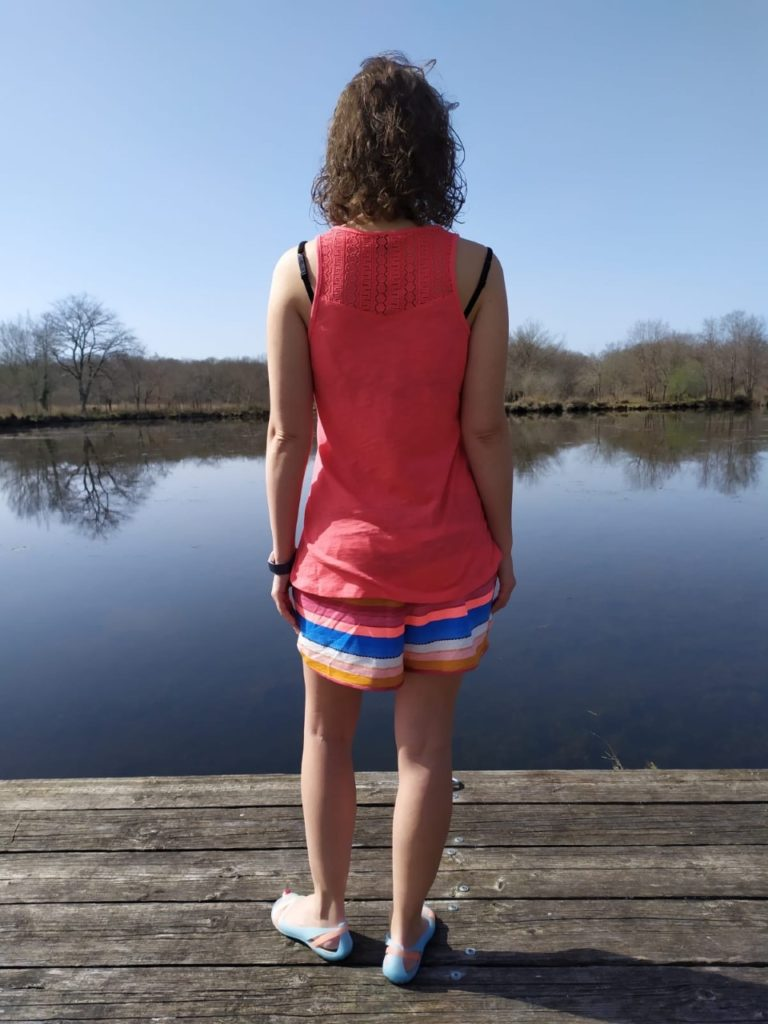 photo shows me from behind where you can see the lace details on the back of my protest clothing top and stripy shorts
