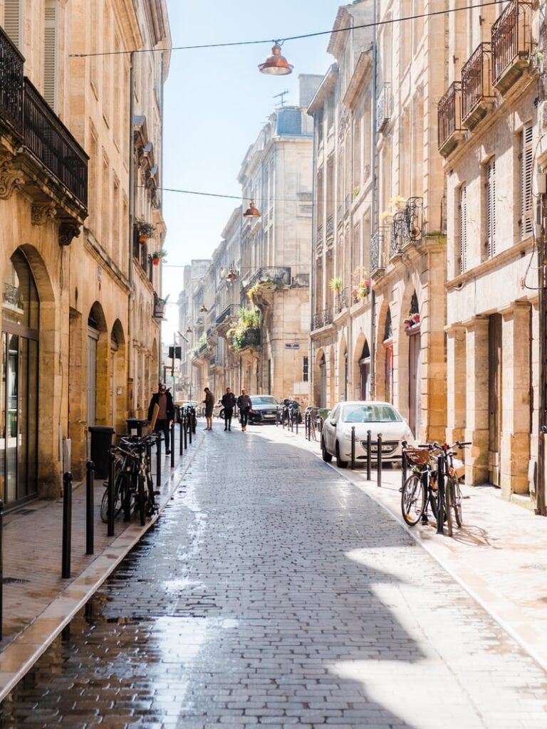 Shop lined streets in Bordeaux