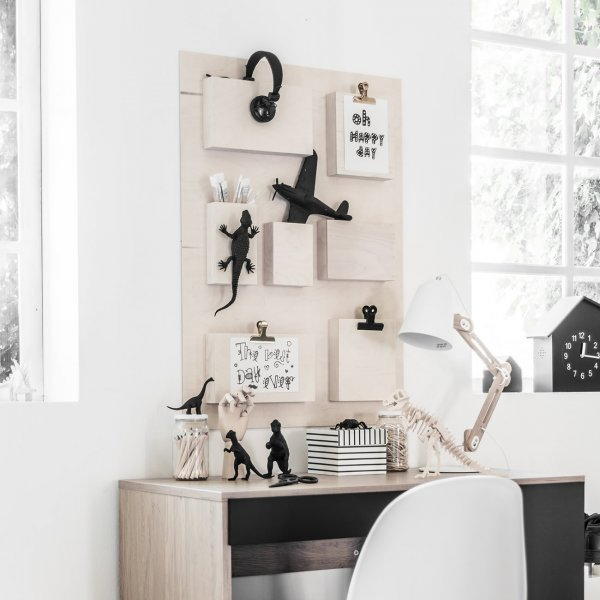 a scandi style desk wall organiser