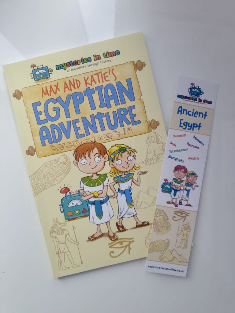 The Egyptian adventure book and bookmark