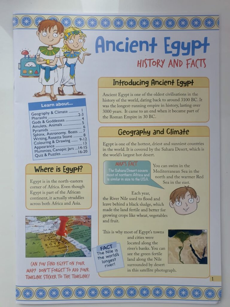 The ancient Egypt history and facts leaflet