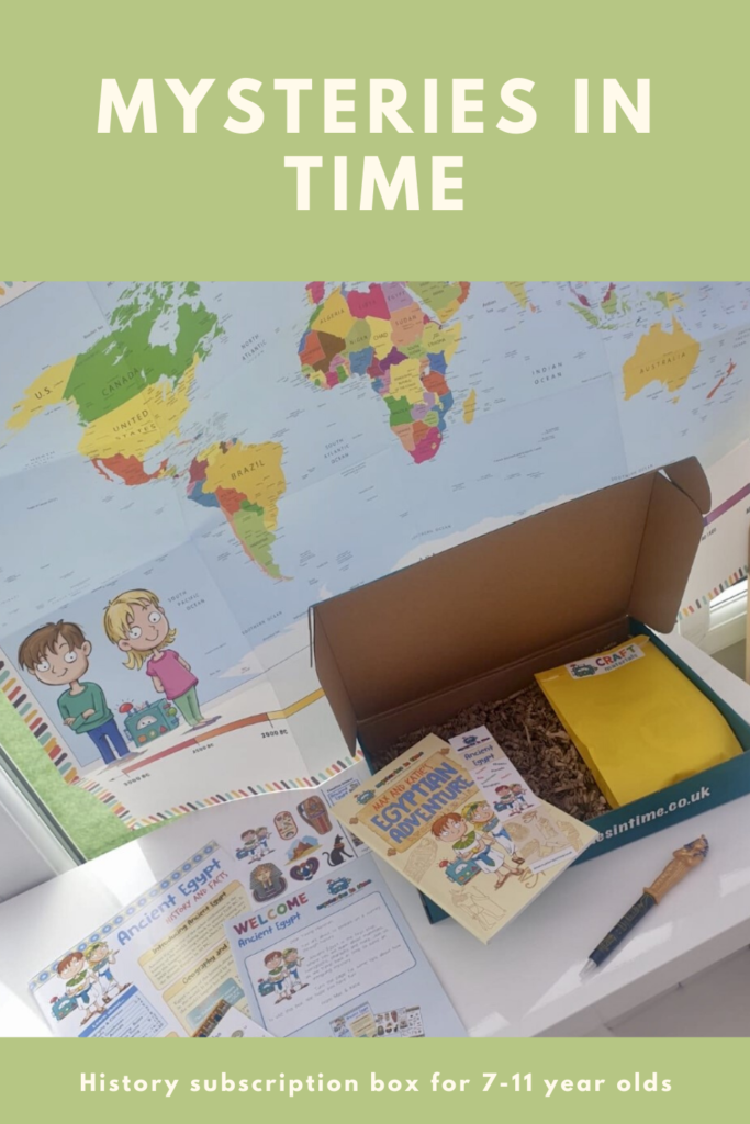 Mysteries in Time subscription box review. A history subscription box for 7-11 year olds. Worldwide delivery