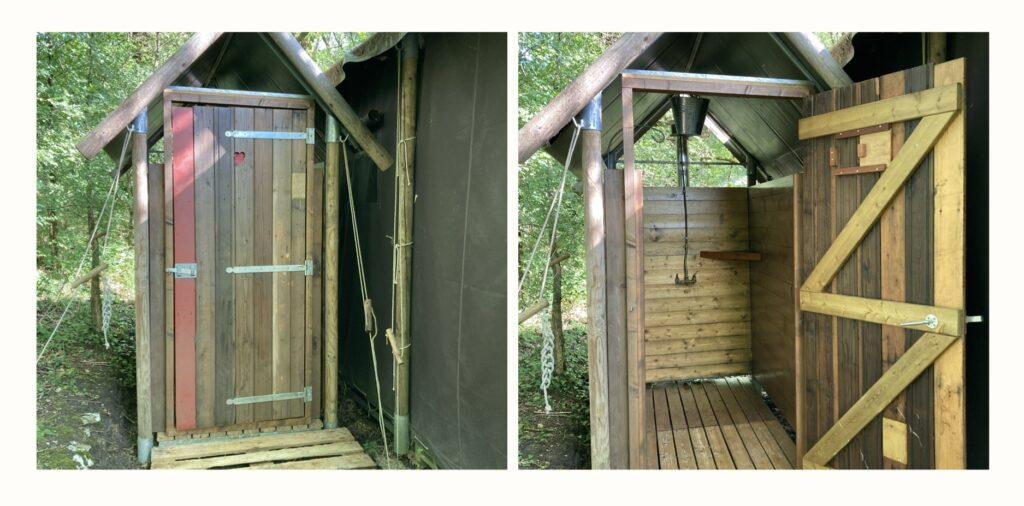 Outside shower hut at Featherdown glamping site