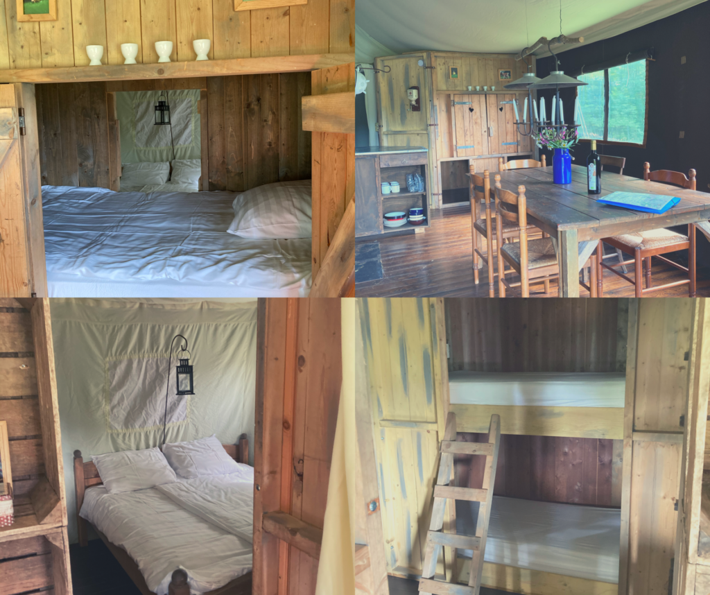 A collage of photos showing the inside of the tent