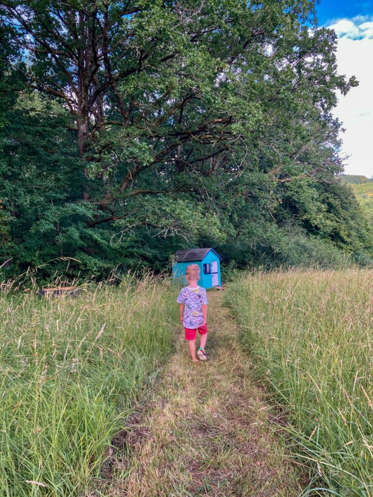 Lucas walking through a path in the field towards a play house