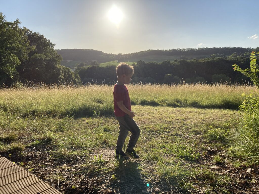 Lucas walking through field, you can see the sun setting behind