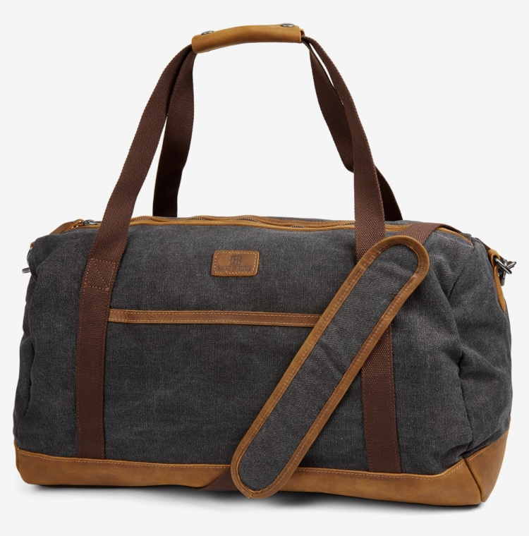 Grey and brown duffel bag