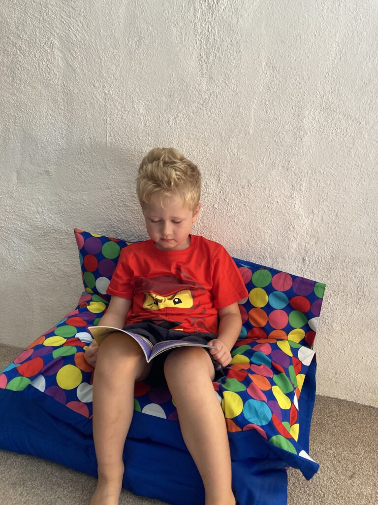Lucas sat up on the folded secret bed to make a seat whilst reading his book
