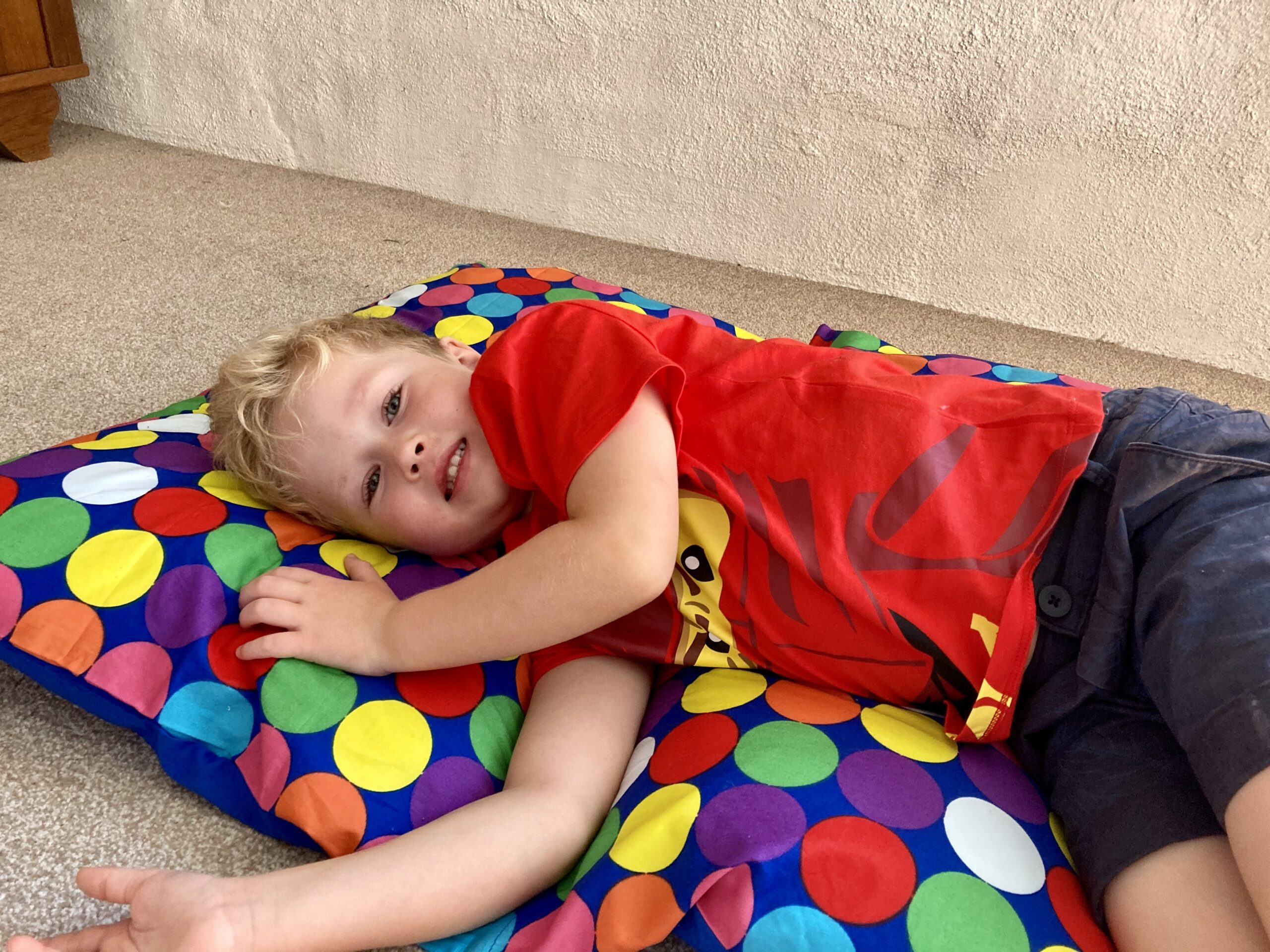 Lucas led on the bright spotty secret bed
