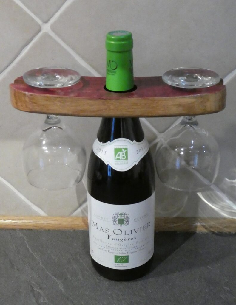 Wine Bottle glass presenter recycled from a French Oak Wine Barrel