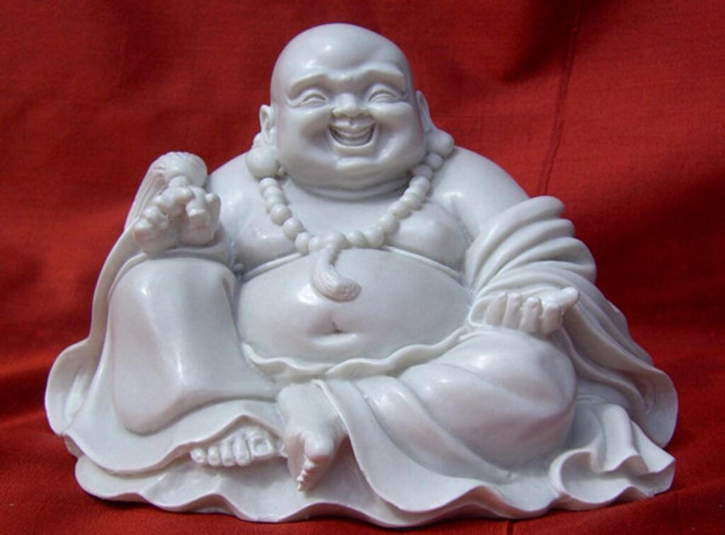 Chinese style Buddha, White, Reconstituted Marble, Good Fortune, Wellbeing, Sumo, Zen, Handmade, Collectable, Happy Buddha Fat belly buddha