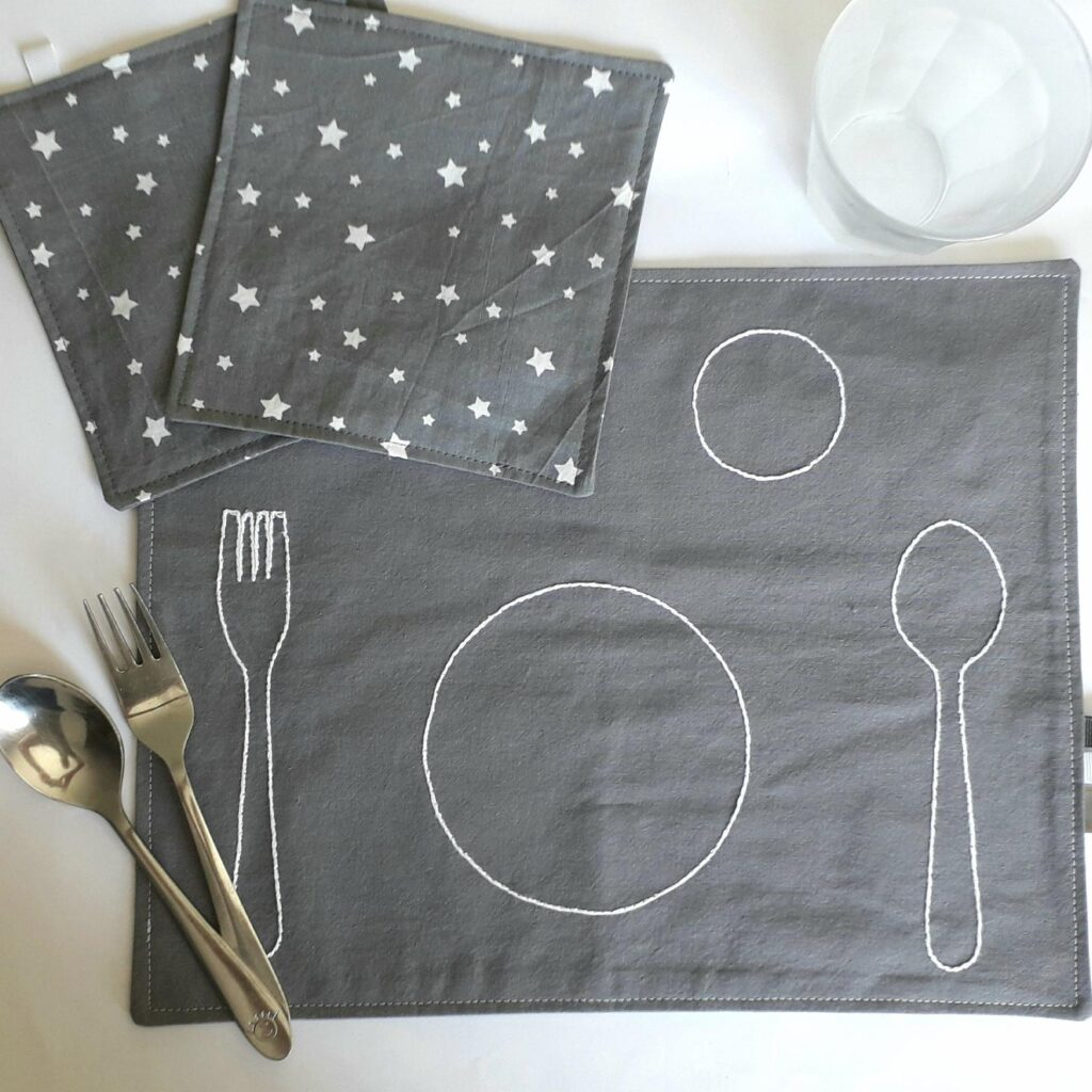 Montessori Placemat for Kids, Montessori Baby Cotton Placemats, Kids Fabric Placemats, Montessori Practical Life Place Setting