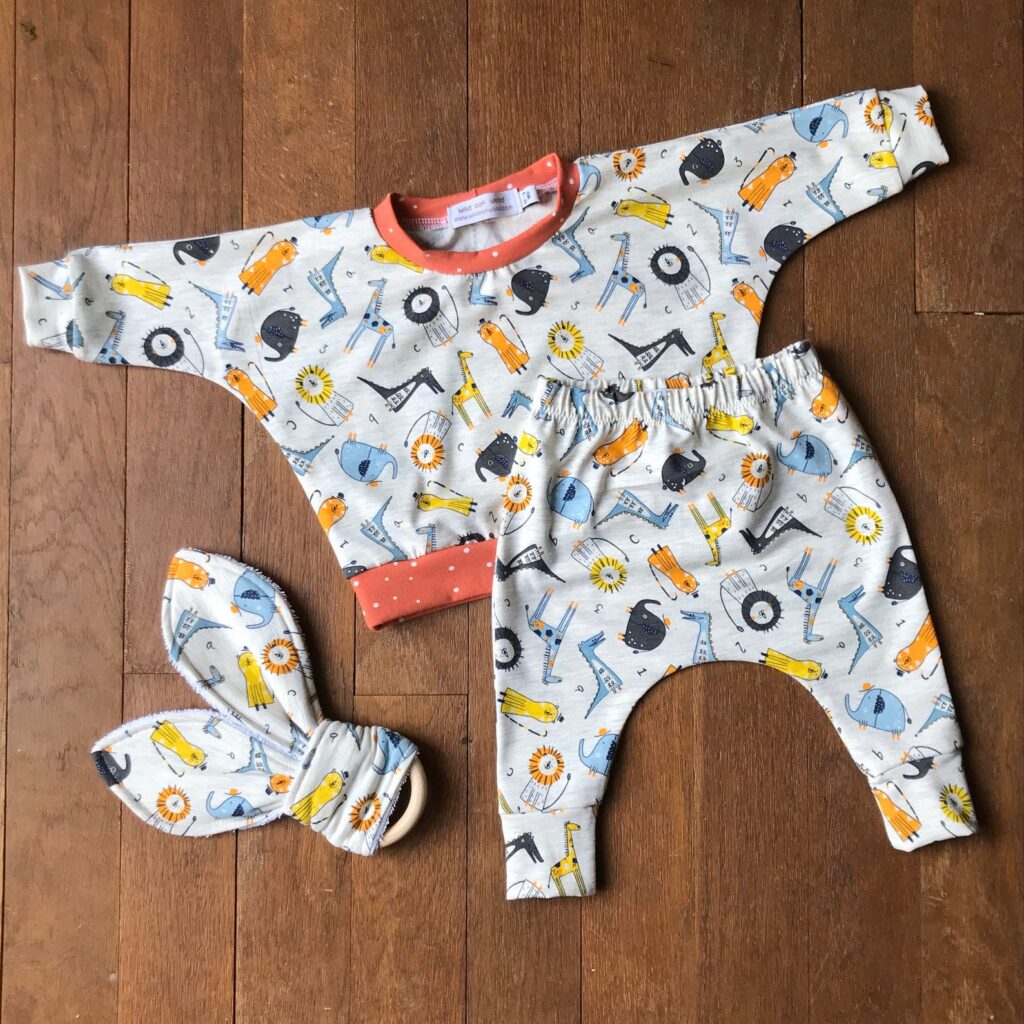 Jungle Print Baby Outfit Set With Rabbit Teether, Jersey Fabric