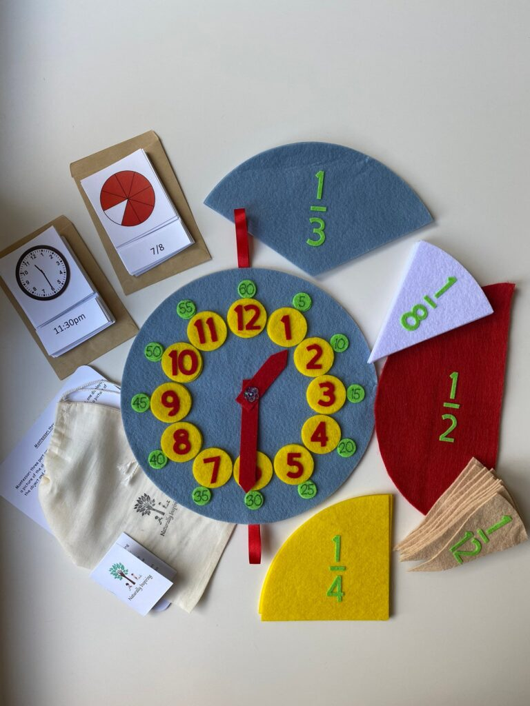 Learning to tell the time | Felt clock | Learning fractions