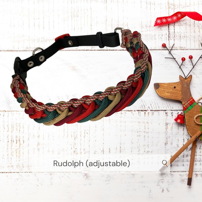 Adjustable Dog Collar, Rudolph. 41-46 cm. Very Strong & Weatherproof. Paracord and Biothane