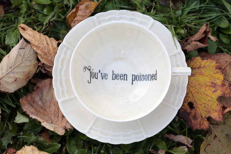 Poison Tea Cup - You've been Poisoned - Vintage Porcelain - Insult Rude Funny Tea Cup and Saucer