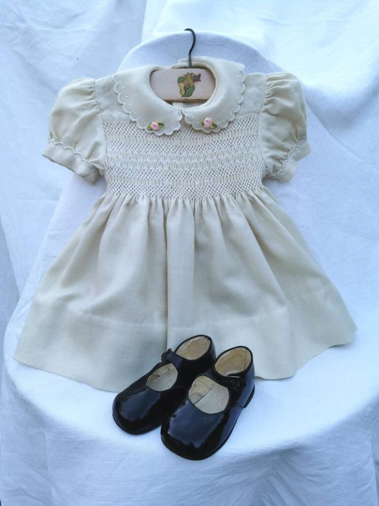 French vintage, hand smocked child's dress. Hand embroidered baby dress.