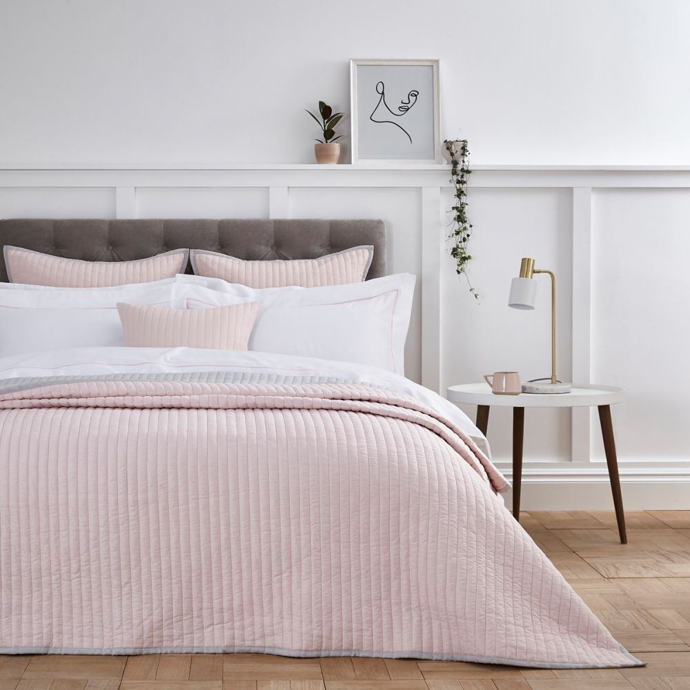 pink and white bedding from dusk