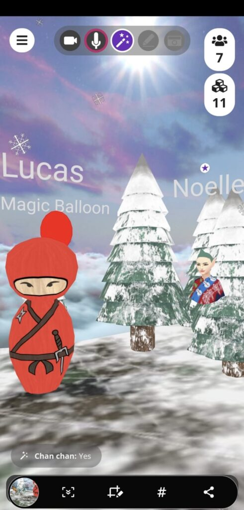 Lucas and Noelle the elf