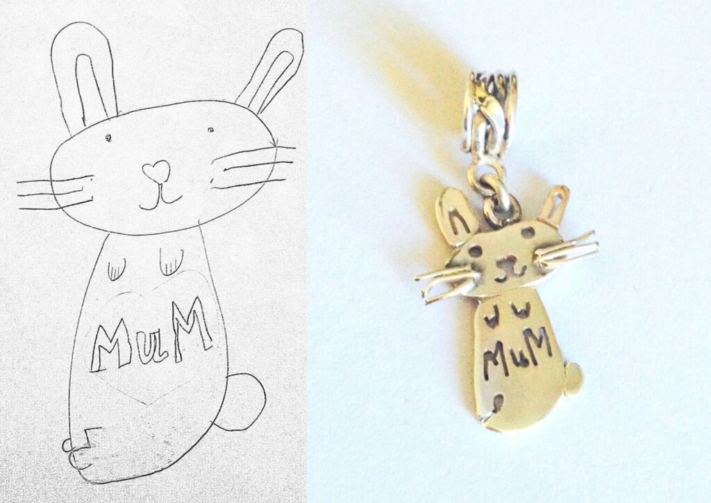 cat drawing necklace