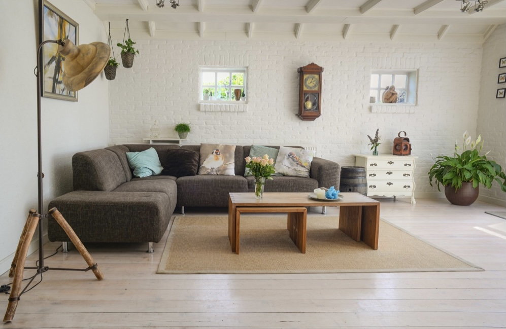 A living room showing a sofa and table