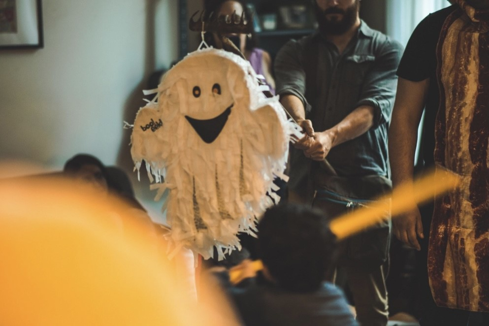 halloween party at home with ghost piniata