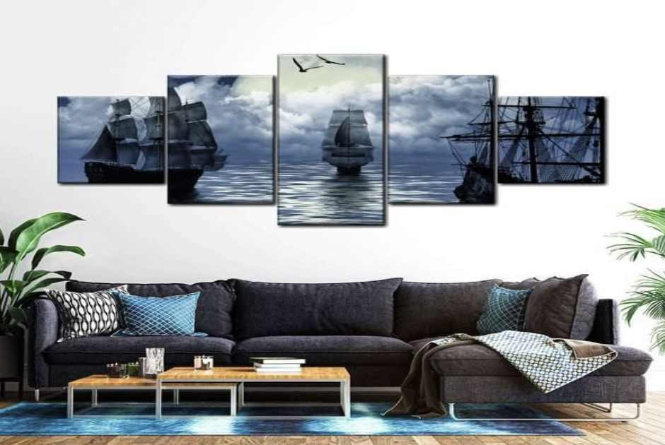 wall art showing a boat on the water