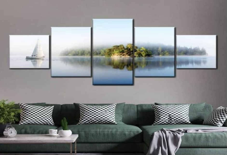 wall art with water and a green island