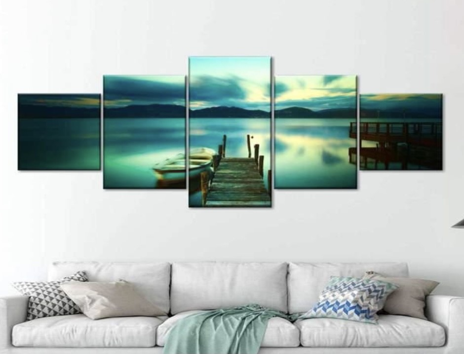 wall art showing a jetty and lake