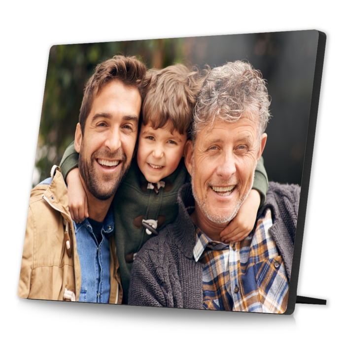 personalised wooden photo showing 3 generations of men