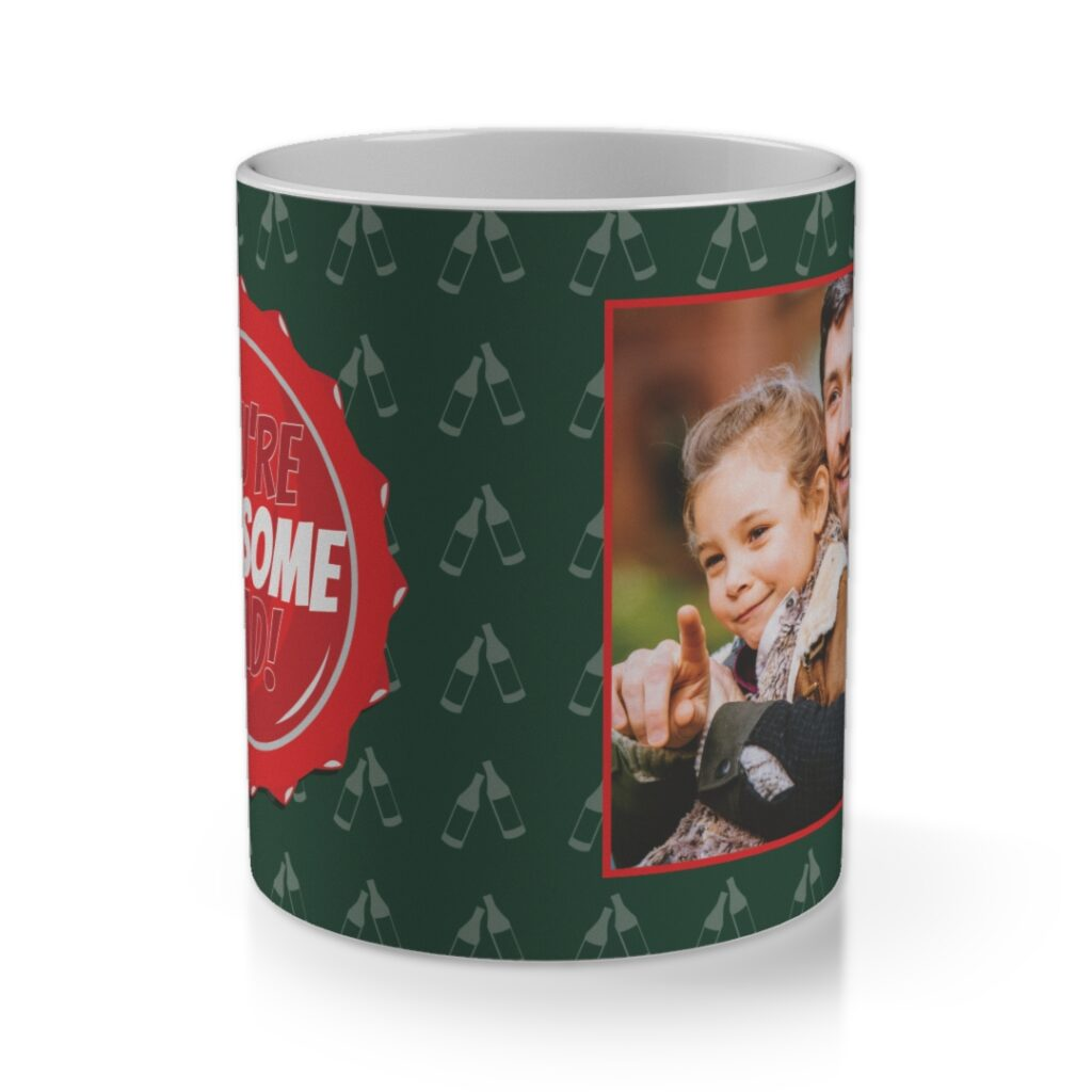 a dark green mug with a bottle pattern and photo on